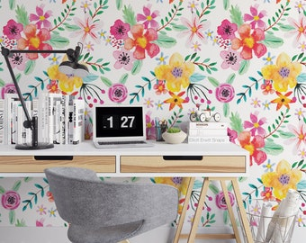 Bright painted floral removable wallpaper / cute self adhesive wallpaper / botanical temporary wallpaper B142-27