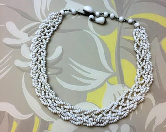 Vintage White Beaded Necklace