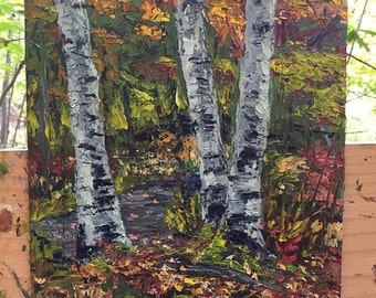 Fall Birch Trees, Knife Oil Painting