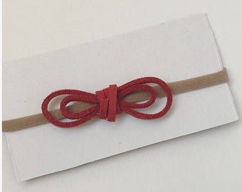 Mini Double-looped Suede Cord Bow