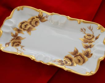 Vintage Ashtray Trinket Dish, Hand-painted Gold Roses FREE SHIPPING!