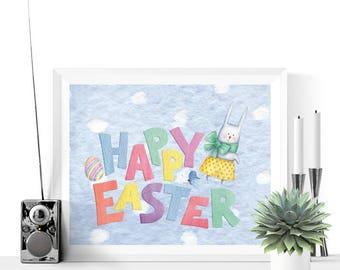 Easter Printable   Happy Easter Bunny Printable Decoration   Blue   Easter Decor   Easter Decorations   Easter Print    Easter Printables