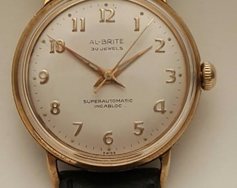 SALE PRICED Vintage gent's AL-Brite SuperAutomatic watch circa 1950's--------Serviced--------