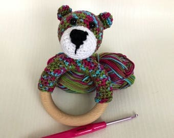 Teether and rattle bear crochet, unique and hand made