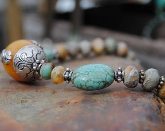 Aqua Terra Jasper &Amber Tibetan Necklace, Ethnic Style Jewelry, Jasper and Turquoise Jewelry, Boho Style Jewelry, Large Pendant Necklaces