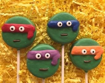 Teenange mutant ninja turtles Oreo cookie pops / birthday party favor / kids birthday / one dozen (12)