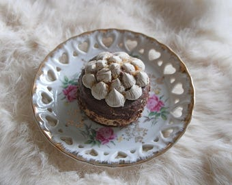 Fake Cream Dotted Chocolate Cupcake - Faux Tartlet - Polymer Clay Cake Tart - Sculpted by a Patissier!