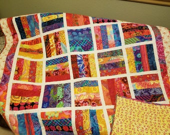 "Bright & Festive Colorful Quilt - 74"" x 55 1/2"" Reds, Oranges, Yellows, Blues and Greens"