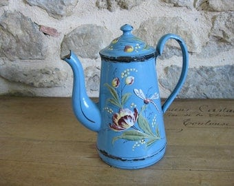Blue French enamel coffee pot with handpainted dragonfly, flowers and gilding