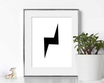 Lightning Bolt Print Digital Download Printable Art California Wall Art Office Prints Cubical Decor Black and White Noir Decor Graphic Print