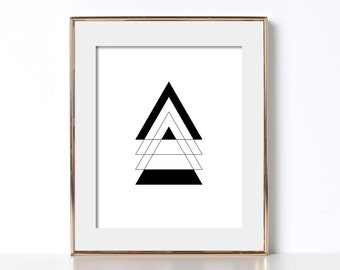 Modern Minimal Poster Modern Minimal Print Digital Download Triangle Poster Triangle Print Modern Bathroom Art Modern Bedroom Art Printable