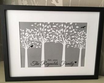 Bespoke Family print with tree & bird design in grey