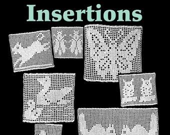 Seven Animal Insertions Filet Crochet Pattern