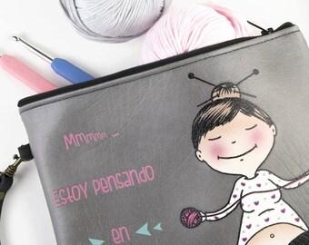 Knitting the new yoga, Crochet clutch, crochet Bag, clutch for weavers, crochet, Illustrated clutch, Crochet Gift, Carry yarn, weavers gift