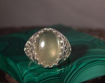 Vintage Style 7.10 Ct. Oval Moldavite Filigree Sterling Silver Ring