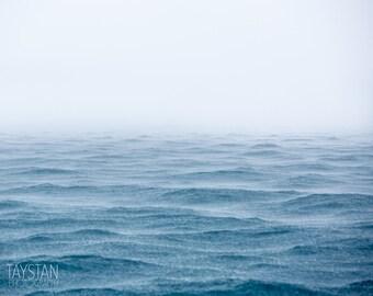Ocean and the Rain, Fine Art Matte Print, Ocean Photography, Nautical Decor