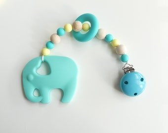 Wood biting chain Silicon elephant turquoise