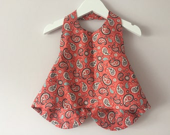 Girls Paisley Halterneck Top With Back Bow Detail Ages 2-5