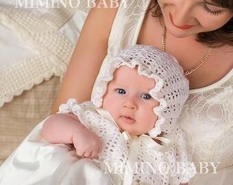 MERINO crochet christening bonnet, baptism bonnet, baby girl crochet bonnet, cream baby bonnet, baptism hat