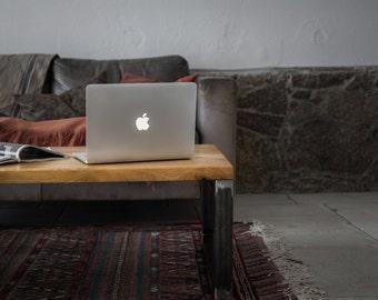 Saskia - solid wood coffee table oak steel frame