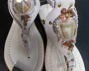 "Women's Flat White Sandals, Beach Wedding Bridal Shoes, Thong/Bead Summer Sandal, Ladies Dress Sandals, Gift for Her, Model: ""Bautizo"""