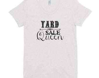 Yard Sale Queen Tee | White Tee With Black Lettering | Junker | Junk | Thrift