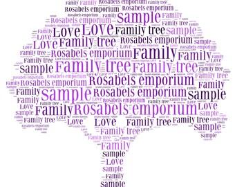 Beautiful Framed Family Tree Word Art