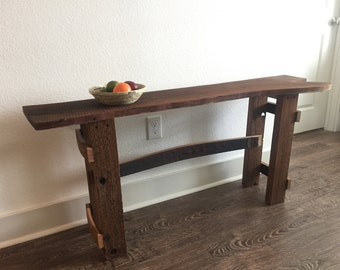 Rustic Wine Stave Mesquite Table