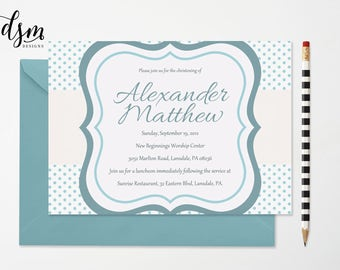 Baby Boy Dedication Invitation Editable PDF • Instant Download