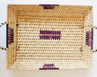 Serving Tray / Basket Tray with Handles / Southwestern Basket