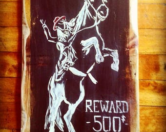 Acrylic on wood. 'Wanted' horse