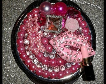 Beautiful Bling pink/pearl lip compact mirror for Mom/Daughter friend