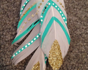 Gold & Teal Feather Clip from Flying Feathers Collection