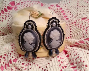 Party earrings. Black and white camafe earrings. Godmother earrings. Soutache Valentine's Day gift earrings.
