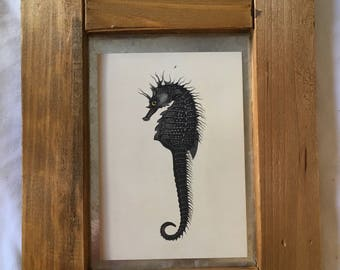 Framed Seahorse Print Wall Hanging
