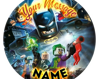 Lego Batman Inspired Personalised Edible Icing Print Party Decoration Cake Topper 7.5""