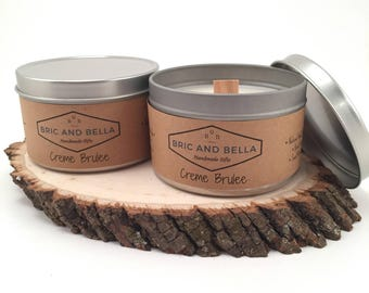 Free Shipping Creme Brulee Soy Wax Candle, 8 oz, wood wick, all natural candle, hand poured candle, paraffin free, tin can