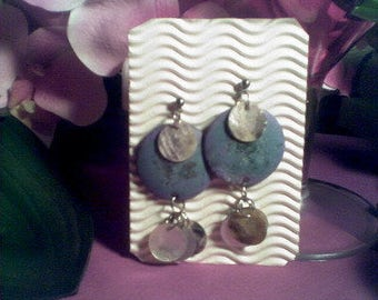 Hand made one of a kind Earrings. Oxidized Metal and Shells