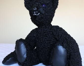 OOAK Teddy bear From Re-Purposed Vintage Black Persian Lamb Fur Coat