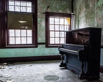 A Piano's Last Song - Urban Explorations- Abandoned Psychiatriac Hospital, urbex. insane asylum, piano, grand piano, sunlight, windows