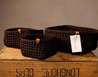 Crochet basket, storage basket, set of baskets, handmade basket, decorative basket, crochet home decor, kitchen basket, home storage