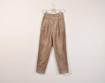 Brown Corduroy Pants, Vintage 90s Corduroys, High Waist Corduroy Trousers, Loose Fit Tapered Leg, 90s Cords, 90s Mom Pants, US Size 3 / 4