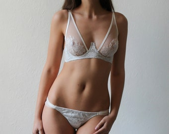 Esme Silk and Lace High Apex Bra // Sheer tulle cup with intricate French lace appliqué