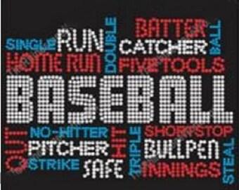 Baseball Terms Rhinestone Iron On Transfer                                     02Y8