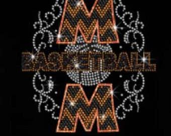 Basketball Mom Glitter Rhinestone Iron on T Shirt Design                                   U95J