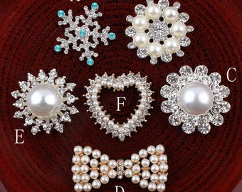 Round/Snow/Flower/Heart/bows Bling Metal Rhinestone Buttons Flatback Crystal Decorative Buttonss for Hair Accessories