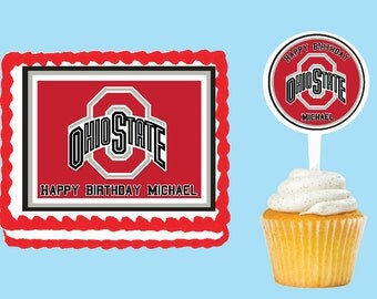 Ohio State University Buckeyes  Edible Cake Cupcake Cookie Toppers Decorations  Or Plastic cupcake pick top for birthday party