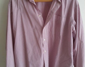 Shirt. Red and white cotton fine checked shirt.