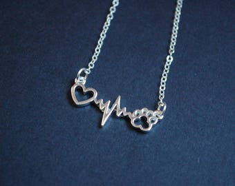 Silver  tone heart beat animal necklace