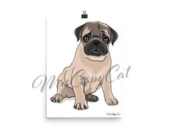 Pug Puppy Art Print - Dog Portrait - Hand Drawn Dog Art - Pug Cartoon Drawing - Dog Digital Illustration - Cute Pug Artwork